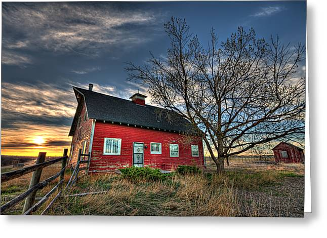 Red Barn Greeting Cards - Rustic Barn Bathed in Colors Greeting Card by Shane Linke