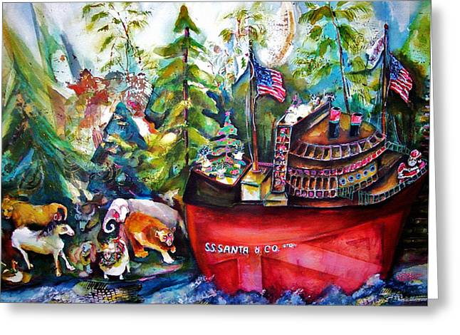 S S Santa Ship Greeting Card by Claire Sallenger Martin
