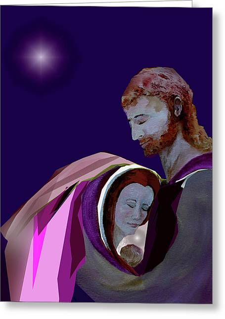 Christ Child Mixed Media Greeting Cards - Sacred Family Greeting Card by AnDe Herbert