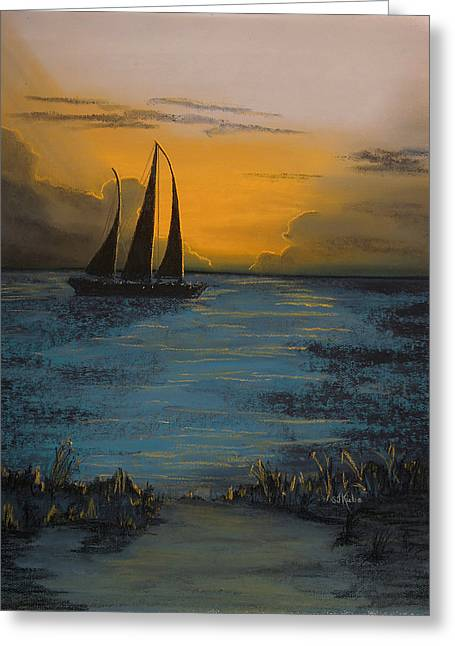 Schooner Pastels Greeting Cards - Sail into the Evening Greeting Card by Shelby Kube