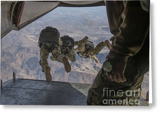 Drop Zone Greeting Cards - Sailors Jump Out Of A C2-a Greyhound Greeting Card by Stocktrek Images