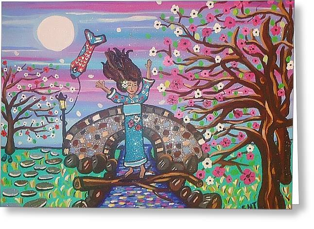 Stepping Stones Mixed Media Greeting Cards - Sakura Dreams Greeting Card by Stephanie Temple