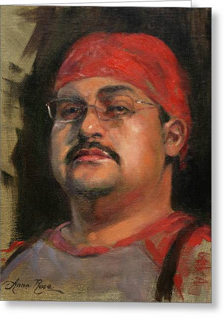 Portraits Oil Greeting Cards - Salvador Greeting Card by Anna Bain