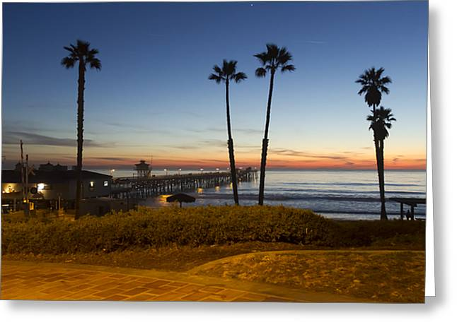 Clemente Greeting Cards - San Clemente Pier at Sunset Greeting Card by Barbara Eads