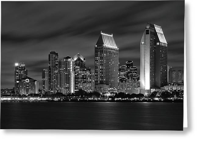 Long Exposure Greeting Cards - San Diego Skyline at Night  Black and White Greeting Card by Larry Marshall