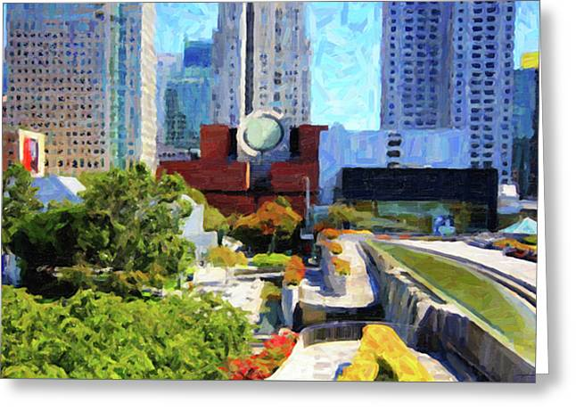 Mario Botta Botta Greeting Cards - San Francisco Museum of Modern Art Viewed Through Yerba Buena Gardens Greeting Card by Wingsdomain Art and Photography