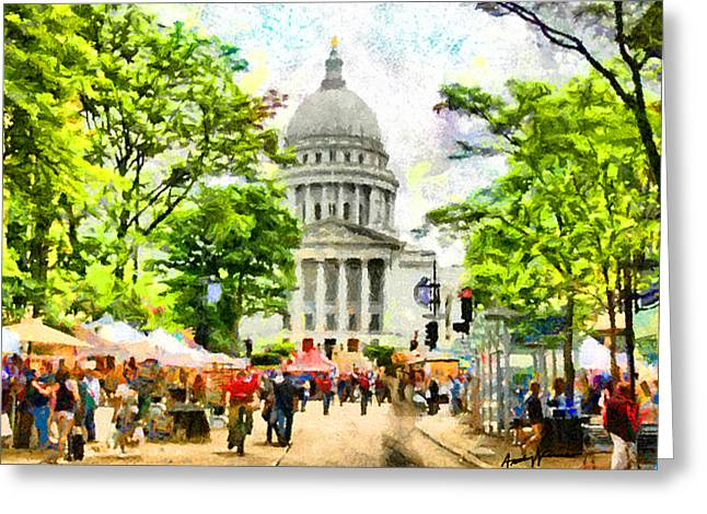 Produce Digital Art Greeting Cards - Saturday in Madison Greeting Card by Anthony Caruso