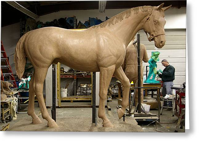 Horse Sculptures Greeting Cards - Seabiscuit bronze larger than life size horse sculpture Greeting Card by Kim Corpany