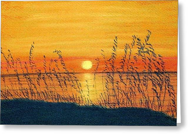 Beach Sunsets Pastels Greeting Cards - Seaoats Sunset Greeting Card by Jan Amiss