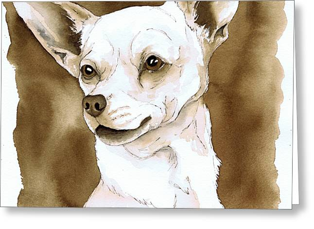 Pen And Ink Drawing Greeting Cards - Sepia Tone Chihuahua Dog Greeting Card by Cherilynn Wood