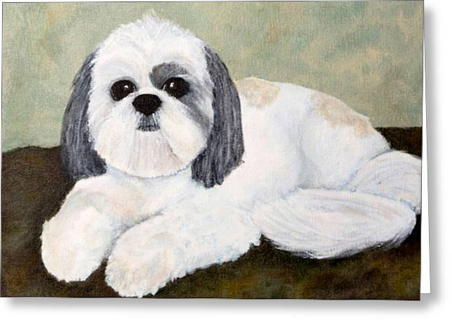 Shih Tzu Greeting Card by Anne Gregorie