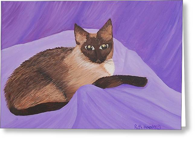 Ruth Housley Greeting Cards - Siamese Cat Kristie SOLD Greeting Card by Ruth  Housley