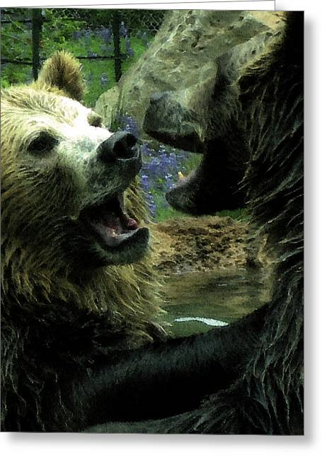 Playing Digital Art Greeting Cards - Silly Bears Greeting Card by Holly Ethan