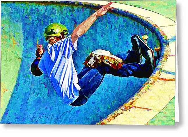 Half Pipe Greeting Cards - Skateboarding in the Bowl Greeting Card by Elaine Plesser