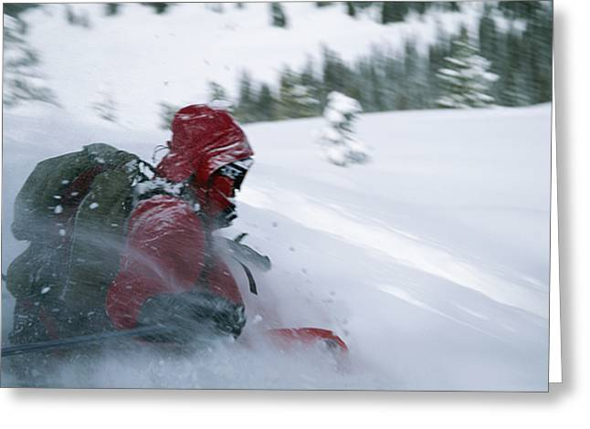 Model Colorado Greeting Cards - Skier Phil Atkinson Skiing Backcountry Greeting Card by Tim Laman