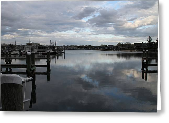 Fishing Boats Greeting Cards - Sky over Marina Greeting Card by Rebecca Powers