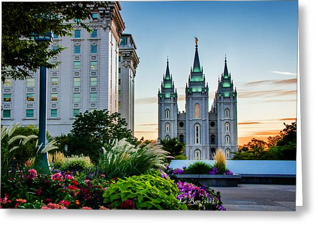 Slc Photographs Greeting Cards - SlC Temple JS Building Greeting Card by La Rae  Roberts