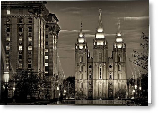 Utah Temple Photography Greeting Cards - SLC Temple Light Trails Sepia Greeting Card by La Rae  Roberts