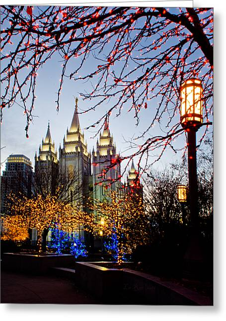 Utah Temples Greeting Cards - SLC Temple Lights lamp Greeting Card by La Rae  Roberts