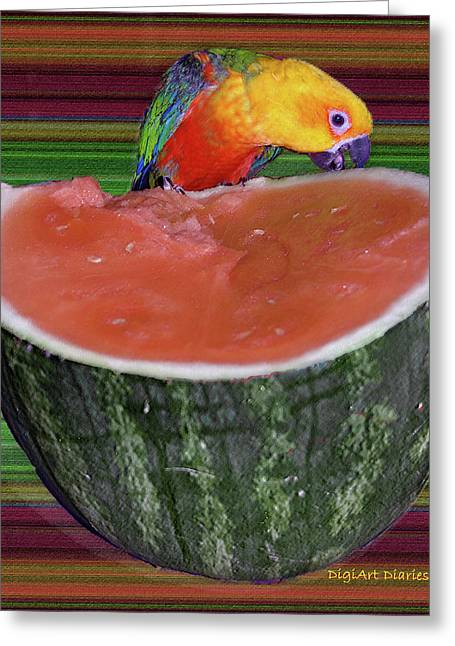 Melon Digital Greeting Cards - Sneaking a Bite Greeting Card by DigiArt Diaries by Vicky B Fuller