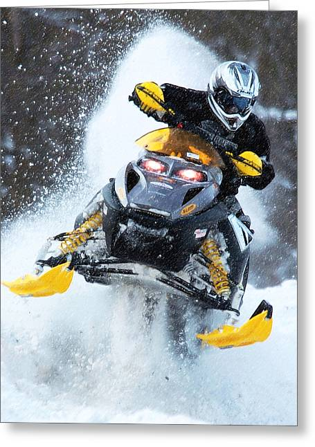 Snowmobile Greeting Cards - Snocross Greeting Card by Wade Aiken