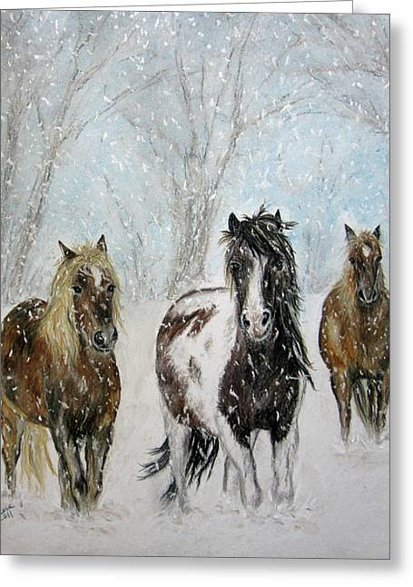 Winter Pastels Greeting Cards - Snow Horses Greeting Card by Teresa Vecere
