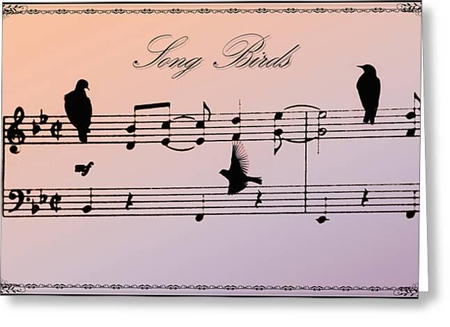 Crow. Bird Music Greeting Cards - Songbirds with border Greeting Card by Bill Cannon