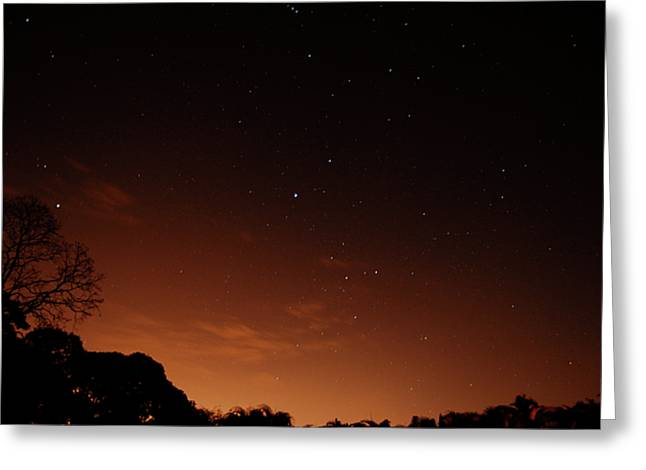 Amazing Sunset Greeting Cards - Space and city lights Greeting Card by Cesar Marino