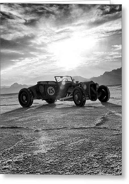 Salt Flat Images Greeting Cards - Speed Week Roadster Greeting Card by Holly Martin