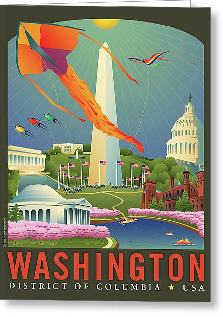 Kites Festival Greeting Cards - Spring in Washington D.C. Greeting Card by Joe Barsin