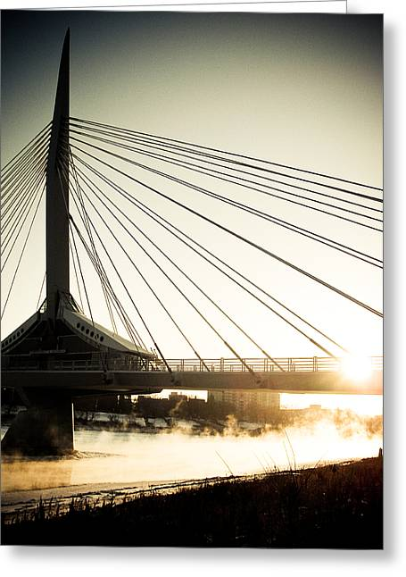 St. Boniface Bridge At Winter Sunrise Greeting Card by Michael Knight