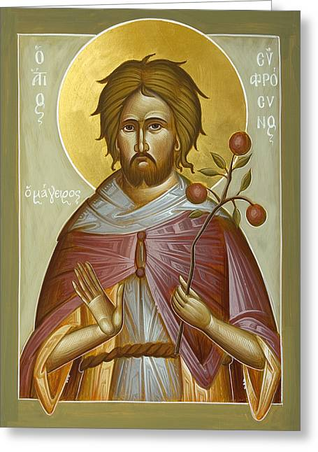 Icon Byzantine Greeting Cards - St Euphrosynos the Cook Greeting Card by Julia Bridget Hayes