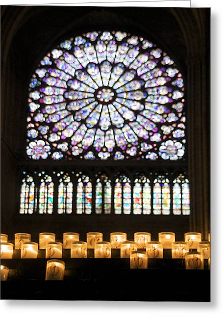 Cathedral Window Greeting Cards - Stained glass window of Notre Dame de Paris. France Greeting Card by Bernard Jaubert
