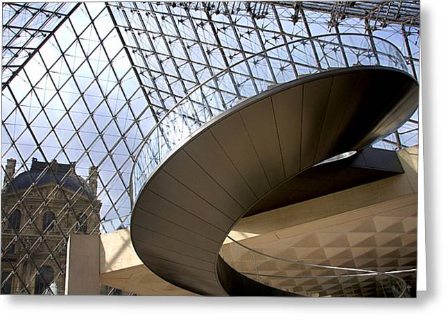Pyramids Photographs Greeting Cards - Stairs in Louvre Museum. Paris.  Greeting Card by Bernard Jaubert