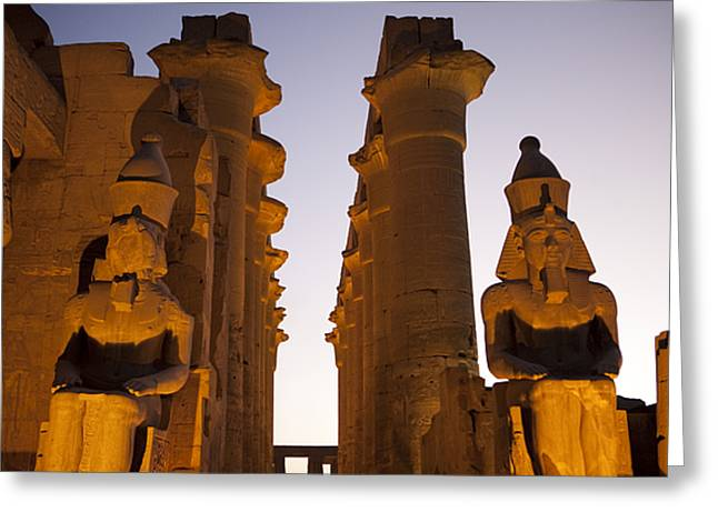 Egyptian Culture Greeting Cards - Statues Of Ramses Ii Rest In The Sunset Greeting Card by Taylor S. Kennedy