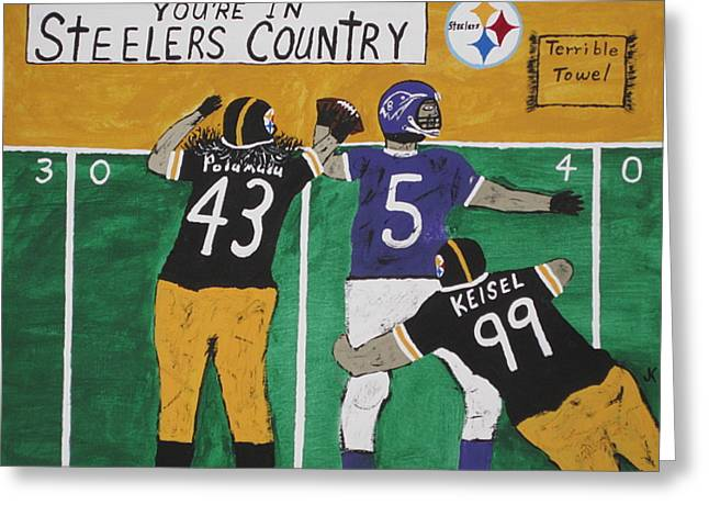 Steelers Country Greeting Card by Jeffrey Koss