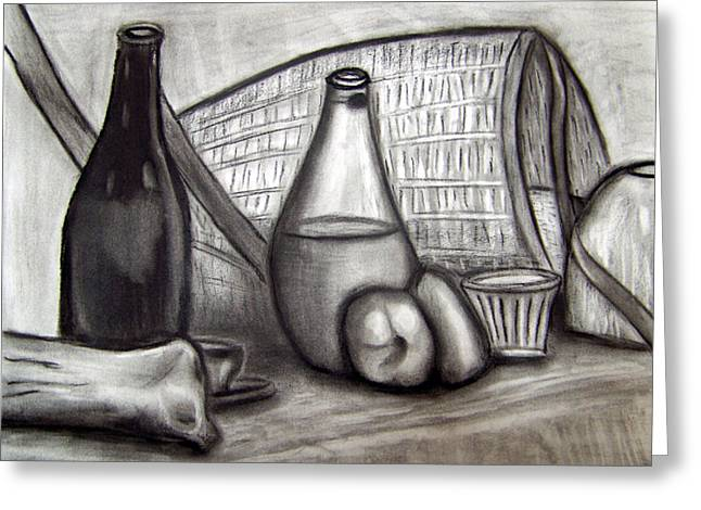 Glass Bottle Drawings Greeting Cards - Still Life 1 Greeting Card by Victor Hernandez