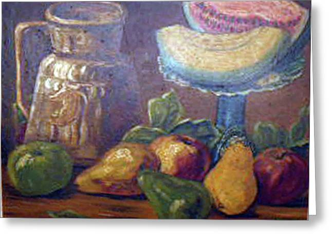 Still Life With Pitcher Paintings Greeting Cards - Still Life with Pears and Melons Greeting Card by Hilda Schreiber