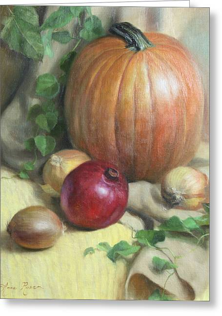 Vine Greeting Cards - Still Life with Pumpkin Greeting Card by Anna Rose Bain