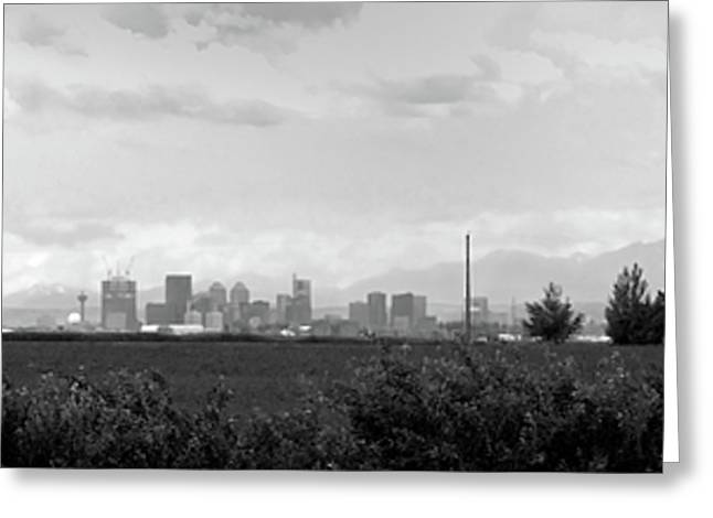 Selective Colouring Greeting Cards - Stormy Day Calgary CityScape Greeting Card by Lisa Knechtel