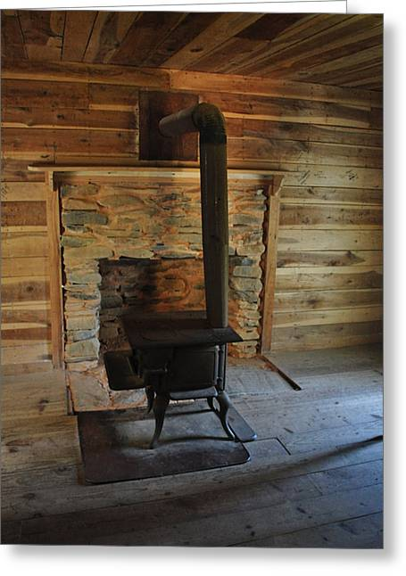 Jeff Moose Greeting Cards - Stove in a Cabin Greeting Card by Jeff Moose