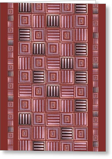 Geometric Digital Art Greeting Cards - Striped squares on a light brown background Greeting Card by Elena Simonenko