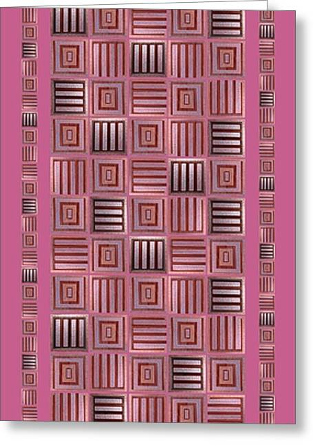 Geometric Digital Art Greeting Cards - Striped squares on a pink background Greeting Card by Elena Simonenko