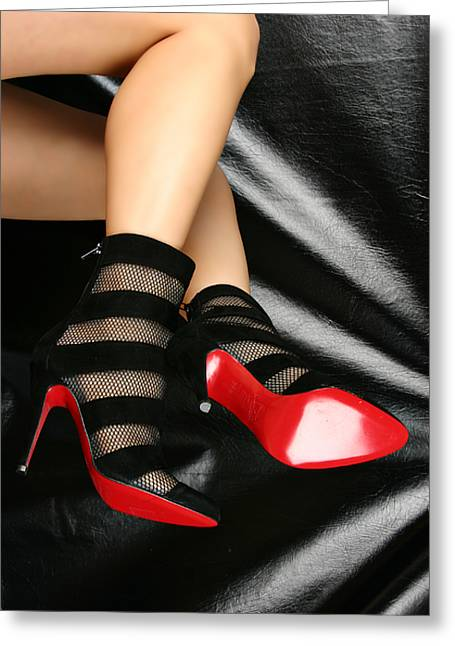 Boot Fetish Greeting Cards - Stripes  Greeting Card by Deelite Photography