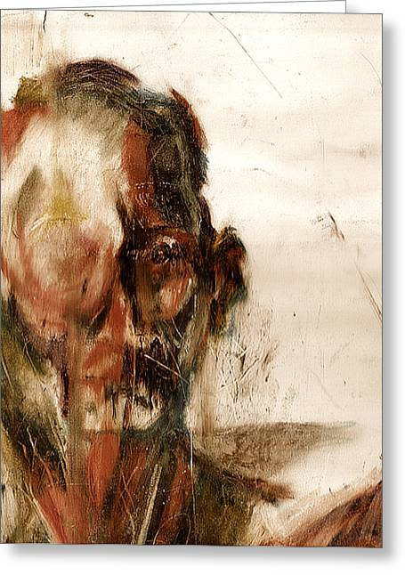 Figure Drawing Greeting Cards - Study of a Mans Face Greeting Card by David Finley