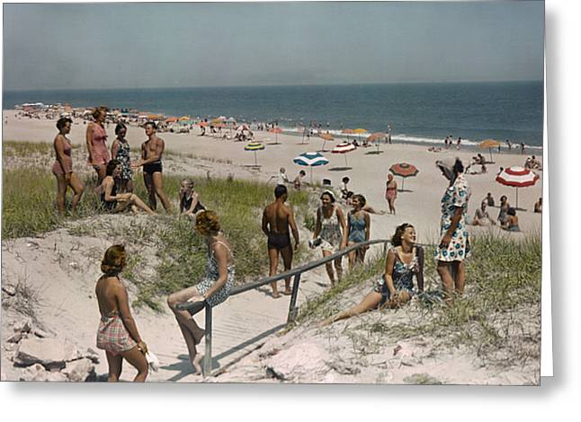 Mid Adult Men Greeting Cards - Sunbathers And Beach Umbrellas Dot Greeting Card by Willard Culver