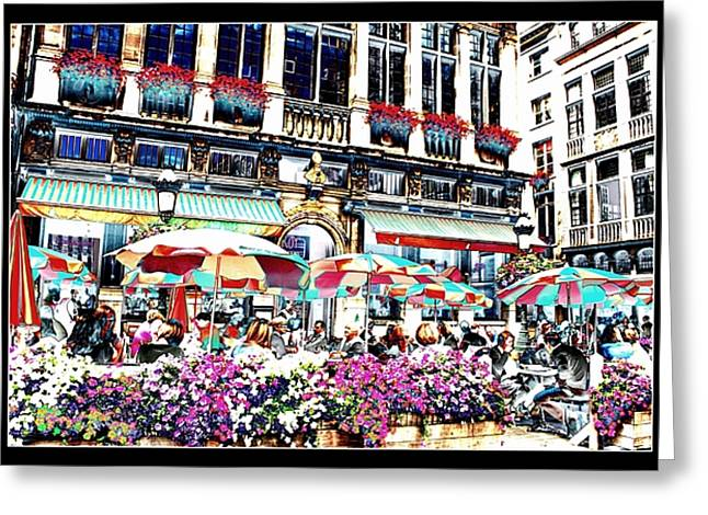 Table And Chairs Greeting Cards - Sunny Day on the Grand Place Greeting Card by Carol Groenen