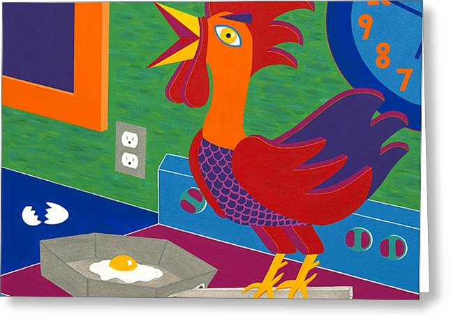 Bright Color Rooster Greeting Cards - Sunny Side Up Greeting Card by Kort Duce