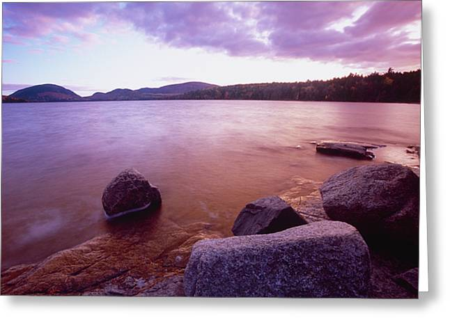 Mt. Desert Island Greeting Cards - Sunset Afterglow at Eagle Lake Greeting Card by George Oze