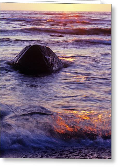 Best Ocean Photography Greeting Cards - Sunset Lights Greeting Card by Konstantin Dikovsky